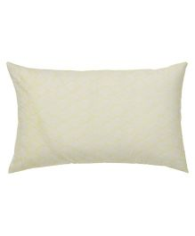 The Baby Atelier Organic Cotton Zig Zag Baby Pillow Cover With Filler - Yellow