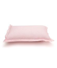The Baby Atelier Organic Cotton Flowers Baby Pillow Cover With Filler - White & Hot Pink