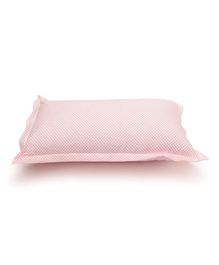 The Baby Atelier Organic Cotton Flowers Baby Pillow Cover Without Filler - White & Hot Pink