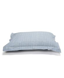 The Baby Atelier Organic Cotton Checkered Shark Junior Pillow Cover Without Filler - Blue