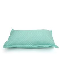 The Baby Atelier Organic Cotton Heart Junior Pillow Cover Without Filler - Pastel Green & White