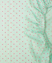 The Baby Atelier Organic Cotton Dots Fitted Crib Sheet - Green & Pink