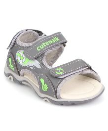 Cute Walk by Babyhug Sandal Football Design - Grey