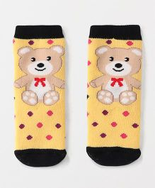 Mustang Ankle Length Dotted Socks Bear Design - Yellow