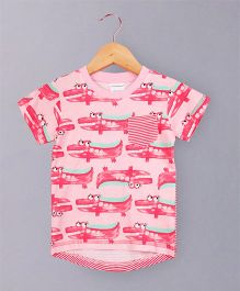 Awabox Crocodile Print Tee - Pink