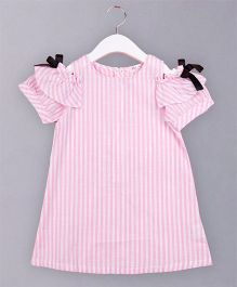 Awabox Striped Dress With Bow - Pink