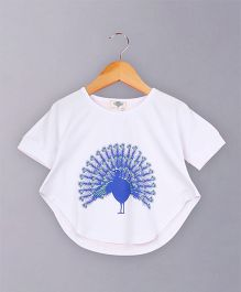 Awabox Peacock Print Top - White