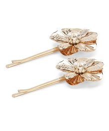 Treasure Trove Set Of 2 Floral Bobby Pins - Gold