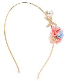 Treasure Trove Flower With Pearl Hair Band - Pink