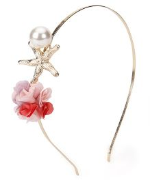 Treasure Trove Flower With Pearl Hair Band - Orange & Pink