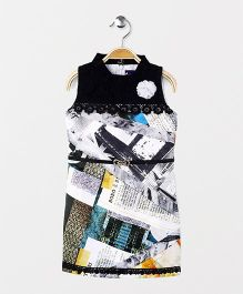 Enfance Digital Print Dress With A Belt - Black