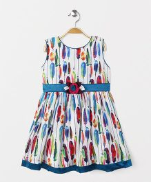 Enfance Feathers Print Dress With Flower On Belt - Multicolor