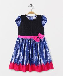 Enfance Printed Dress With A Bow Flower - Blue