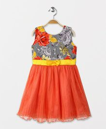 Enfance Classy Sleeveless Dress With Attached Bow - Orange