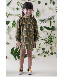 Tiber Taber Jungle Print Ruffle Dress - Green
