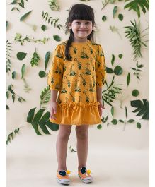 Tiber Taber Jungle Print A Line Dress - Yellow