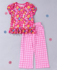 CrayonFlakes Floral Top With Check Pyjama Night Suit - Light Pink