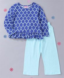 CrayonFlakes Mesh Top With Polka Pyjama Night Suit - Royal Blue