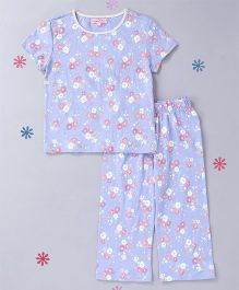 CrayonFlakes Floral Print Night Suit - Cadet Blue
