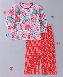 CrayonFlakes Floral Print Top With Polka Pyjama Night Suit - Multicolor