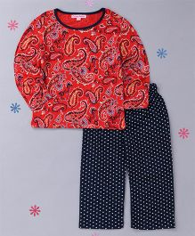 CrayonFlakes Polka Printed Night Suit - Red & Navy Blue