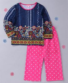 CrayonFlakes Polka Printed Night Suit - Blue & Pink