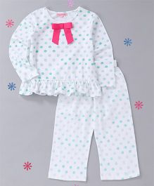 CrayonFlakes Polka Design Night Suit - Green & White