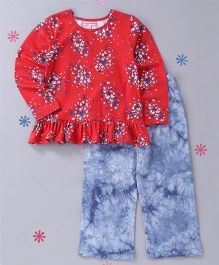 CrayonFlakes Floral Top Tie Dye Pyjama Night Suit - Red & Blue