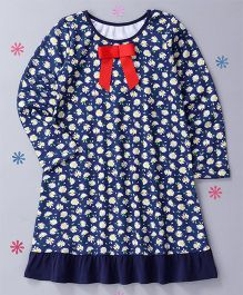 CrayonFlakes Flower Printed Nighty - Blue