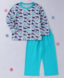 CrayonFlakes Dinasour Printed Night Suit - Grey & Turquoise