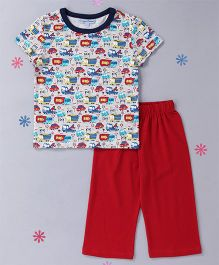 CrayonFlakes Truck Printed Night Suit - Grey & Red