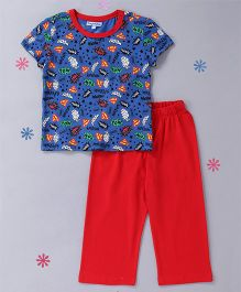 CrayonFlakes Printed Top & Pyjama Night Suit - Blue & Red