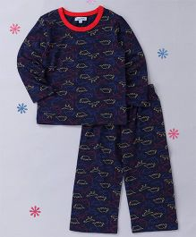 CrayonFlakes Dinasour Printed Night Suit - Navy Blue