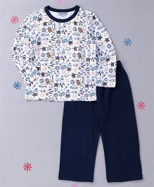 CrayonFlakes Rockets Printed Top & Pyjama Night Suit - White & Navy Blue