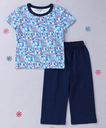 CrayonFlakes Ski Board Top With Pyjama Night Suit - Navy Blue