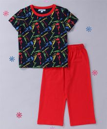 CrayonFlakes Guitarist Top & Pyjama Night Suit - Red