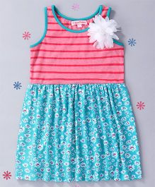 CrayonFlakes Stripes With Floral Knit Dress - Pink & Green