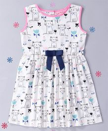 CrayonFlakes Cat Woven Dress - White