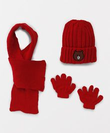 Babyhug Cap And Gloves With Muffler Bear Design - Red