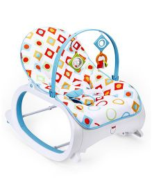 Fisher Price New Infant to Toddler Rocker Seat Diamonds Print With Free Tablet - Blue