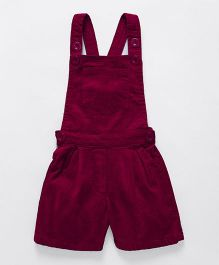 Babyhug Corduroy Dungaree With Pocket - Maroon