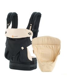 Ergobaby 4 Position 360 Bundle of Joy With Easy Snug Infant Insert - Beige & Black
