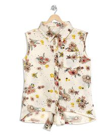 Budding Bees Printed Tie - Up Shirt - White