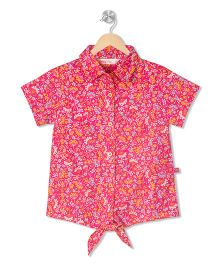 Budding Bees Printed Tie - Up Shirt - Pink