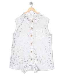 Budding Bees Printed Tie - Up Shirt - Off White