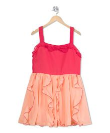 Budding Bees Solid Fit & Flare Dress - Pink & Peach