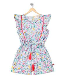 Budding Bees Floral Playsuit - Off White