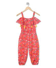 Budding Bees Printed Long Jumpsuit - Orange