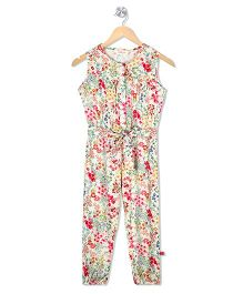 Budding Bees Long Jumpsuit - Off White