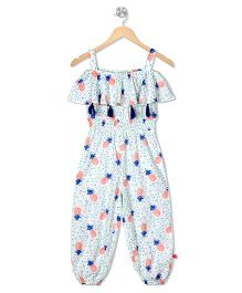 Budding Bees Printed Long Jumpsuit - Off White